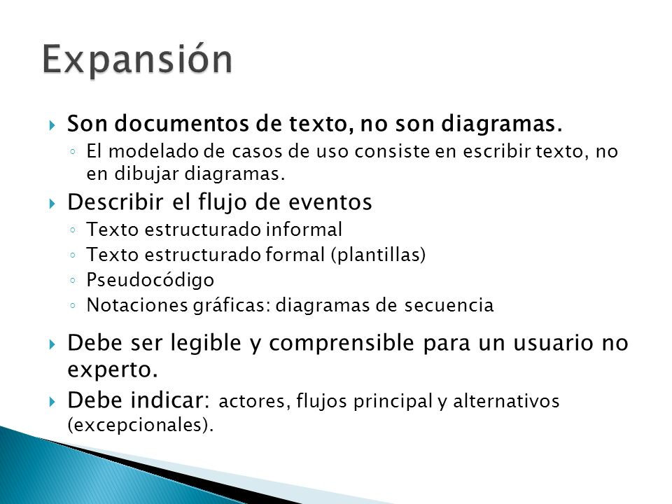 Expansión Son documentos de texto, no son diagramas.