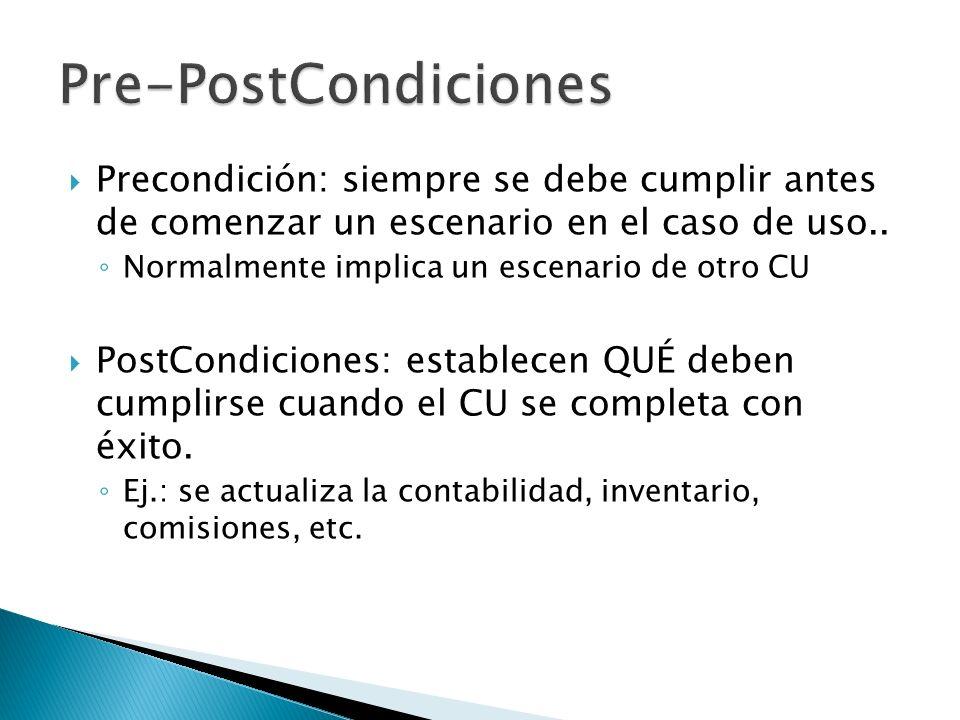 Pre-PostCondiciones Precondición: siempre se debe cumplir antes de comenzar un escenario en el caso de uso..