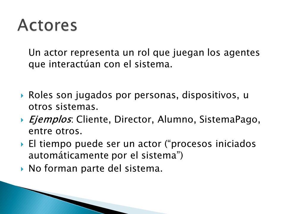 Actores Un actor representa un rol que juegan los agentes que interactúan con el sistema.