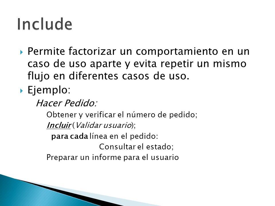 Include Permite factorizar un comportamiento en un caso de uso aparte y evita repetir un mismo flujo en diferentes casos de uso.