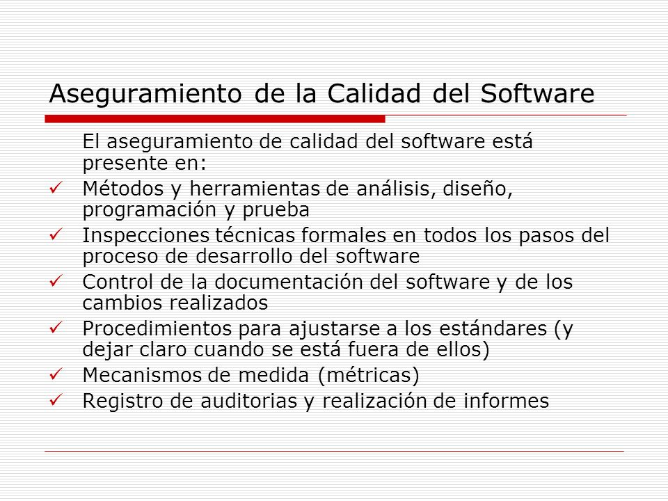 Aseguramiento de la Calidad del Software