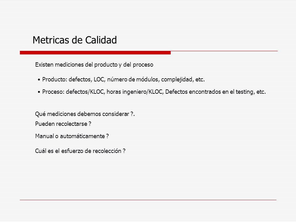 Metricas de Calidad Existen mediciones del producto y del proceso