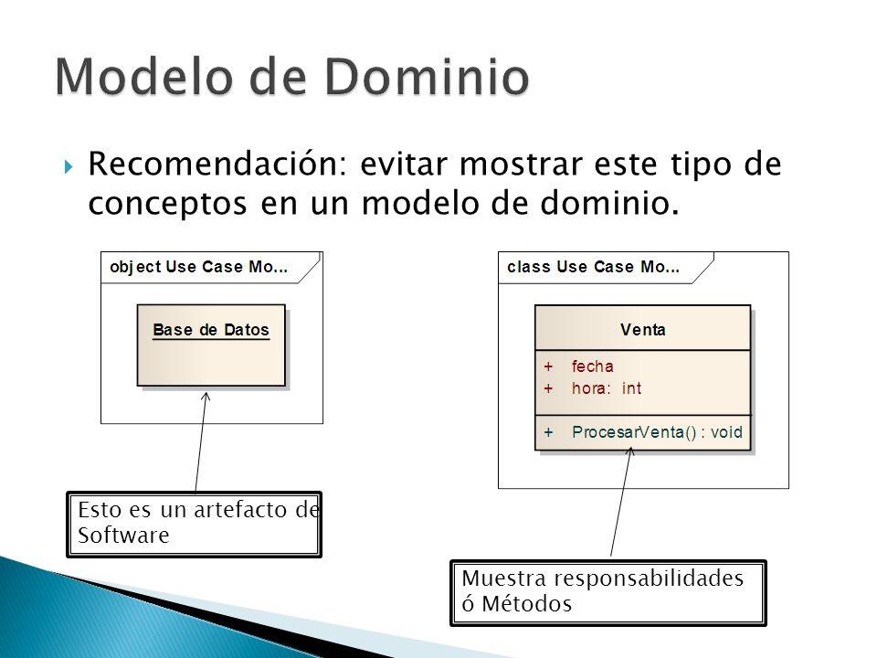Modelo de Dominio Recomendación: evitar mostrar este tipo de conceptos en un modelo de dominio. Esto es un artefacto de.
