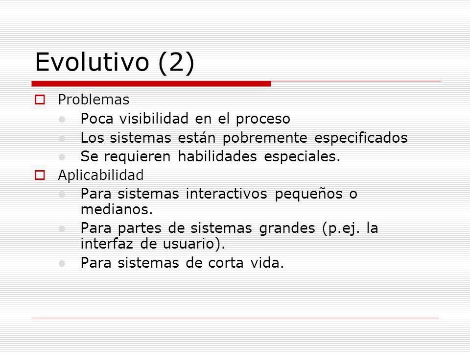 Evolutivo (2) Poca visibilidad en el proceso