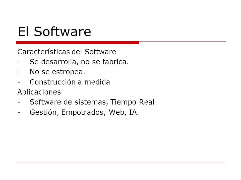 El Software Características del Software Se desarrolla, no se fabrica.