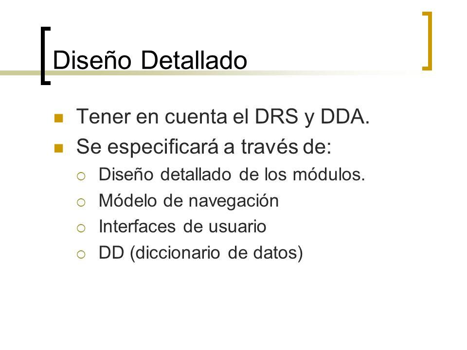 Diseño Detallado Tener en cuenta el DRS y DDA.