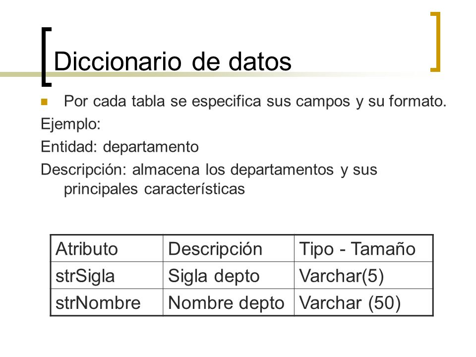 Diccionario de datos Atributo Descripción Tipo - Tamaño strSigla