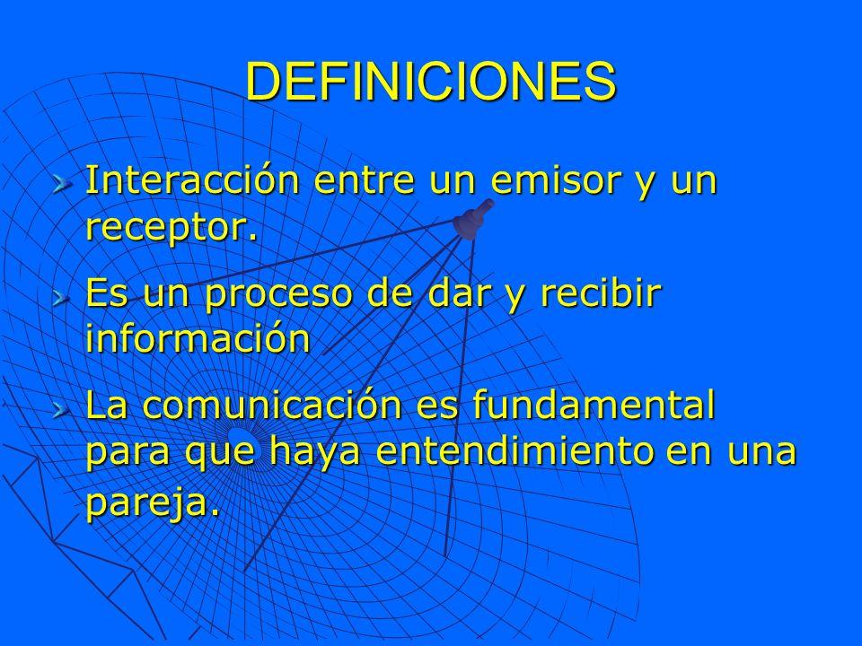 DEFINICIONES Interacción entre un emisor y un receptor.