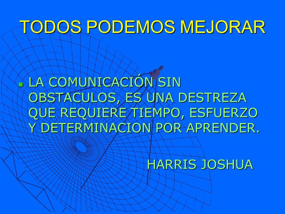 TODOS PODEMOS MEJORAR LA COMUNICACIÓN SIN OBSTACULOS, ES UNA DESTREZA QUE REQUIERE TIEMPO, ESFUERZO Y DETERMINACION POR APRENDER.