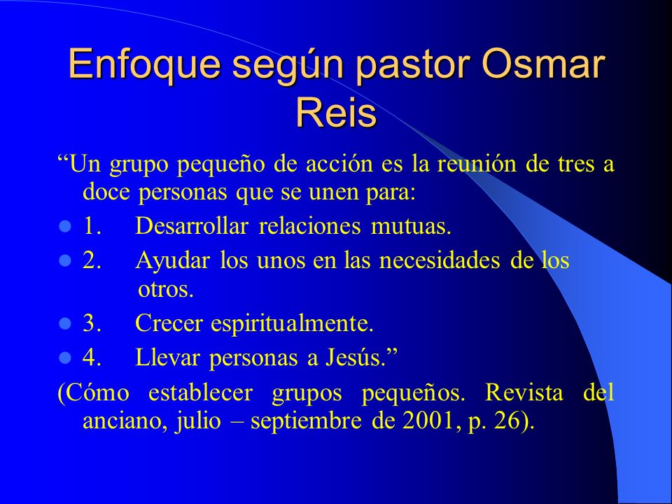 Enfoque según pastor Osmar Reis