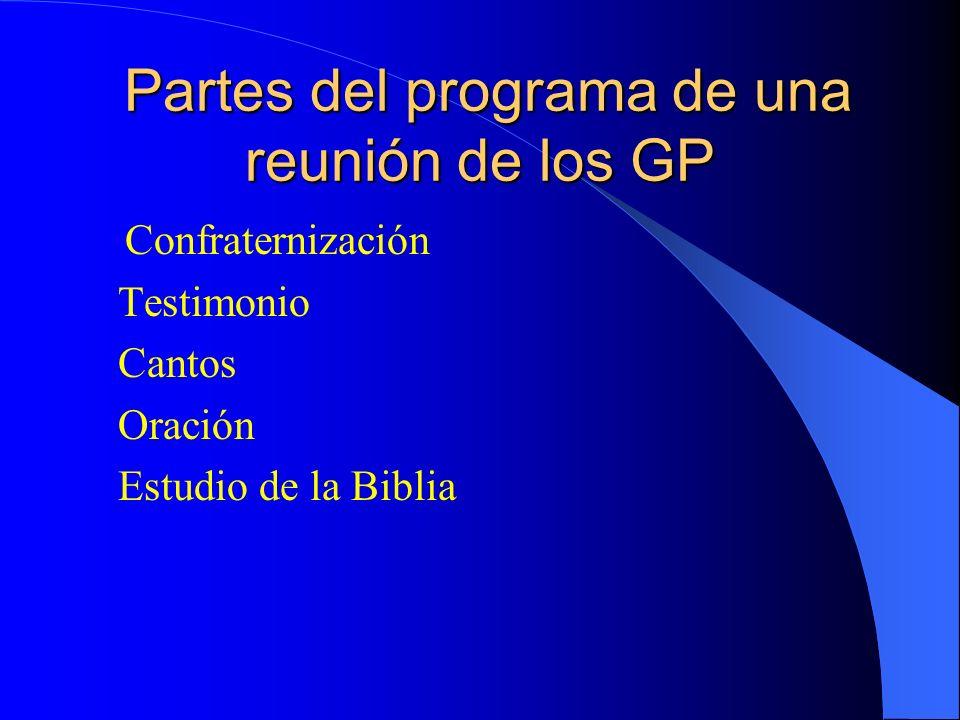 Partes del programa de una reunión de los GP