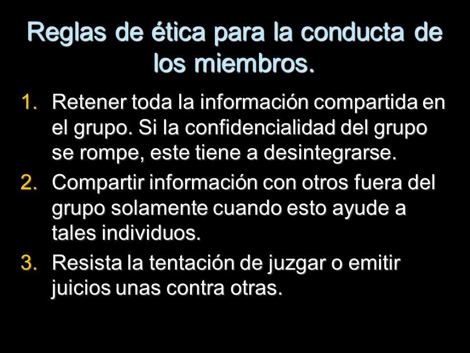Reglas de ética para la conducta de los miembros.