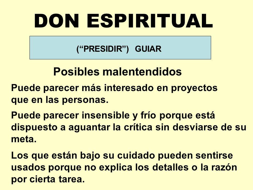 DON ESPIRITUAL Posibles malentendidos