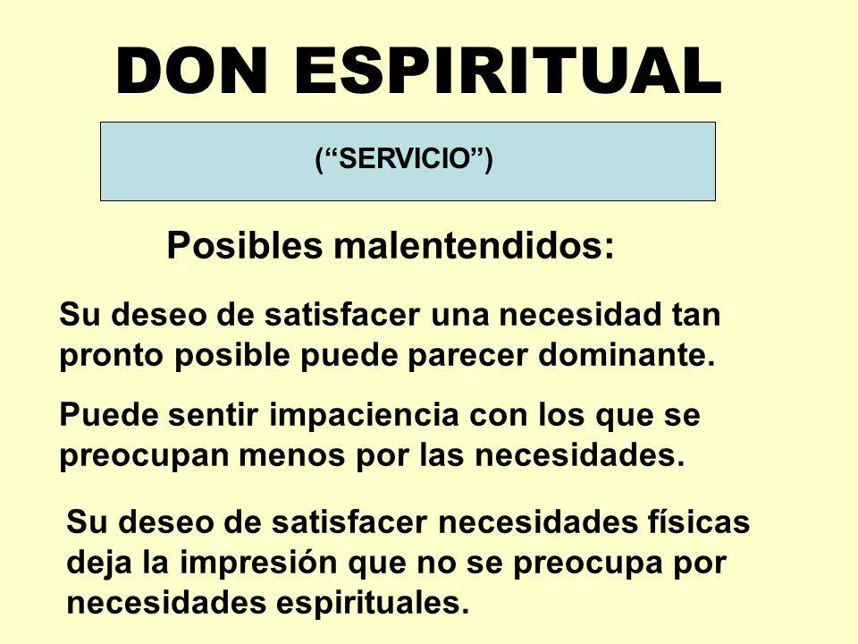 DON ESPIRITUAL Posibles malentendidos: