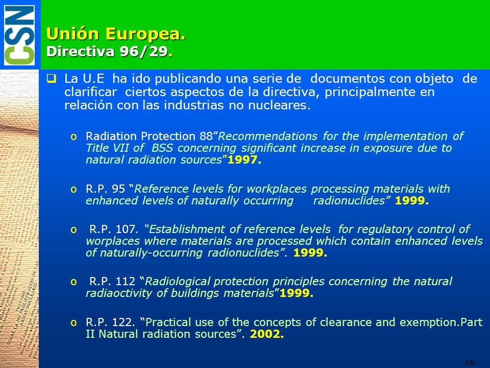 Unión Europea. Directiva 96/29.