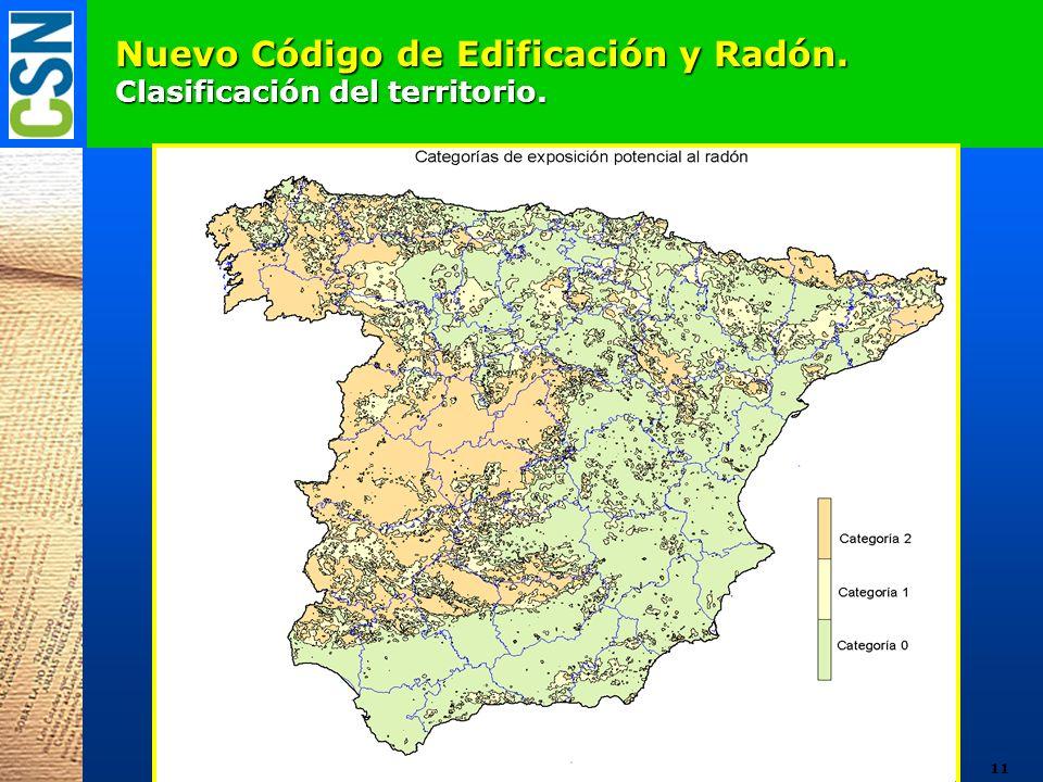 Nuevo Código de Edificación y Radón. Clasificación del territorio.