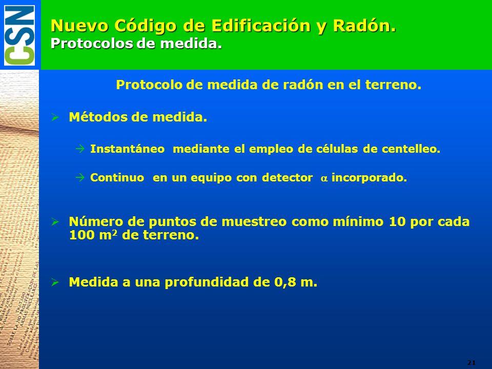 Nuevo Código de Edificación y Radón. Protocolos de medida.
