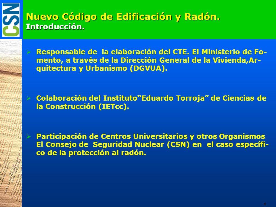 Nuevo Código de Edificación y Radón. Introducción.
