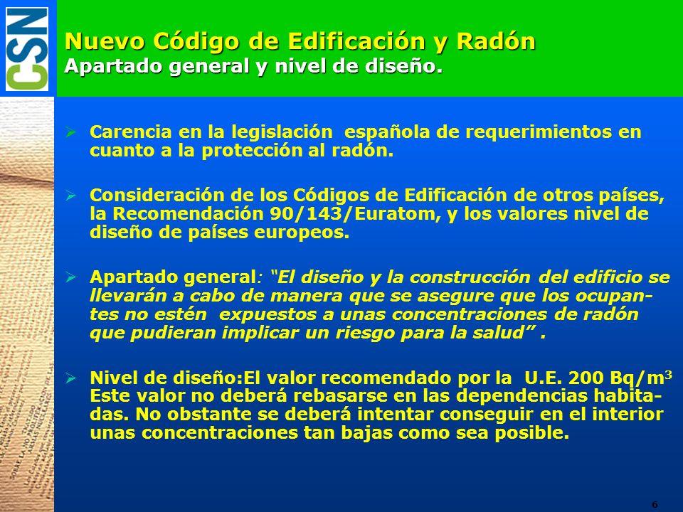 Nuevo Código de Edificación y Radón Apartado general y nivel de diseño.
