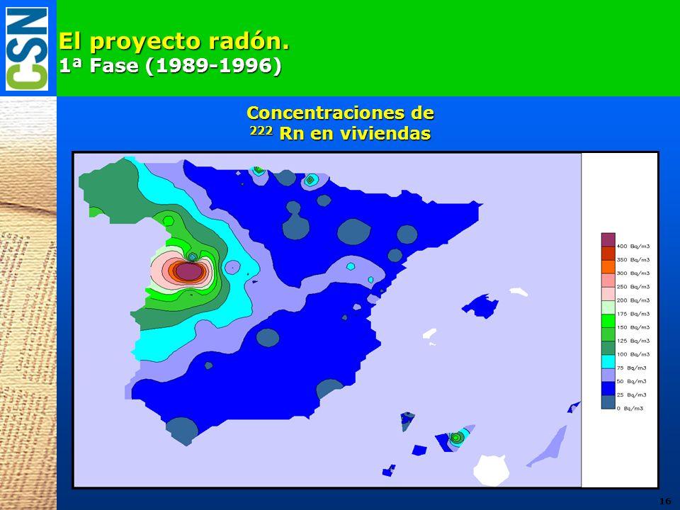 El proyecto radón. 1ª Fase (1989-1996) Concentraciones de
