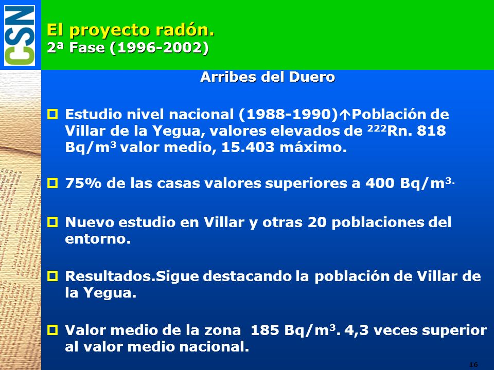 El proyecto radón. 2ª Fase (1996-2002)