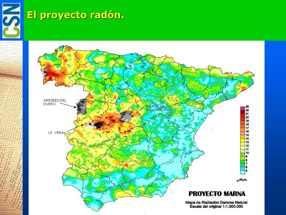 El proyecto radón. ARRIBES DEL DUERO SIERRA DE GUADARRAMA LA VERA