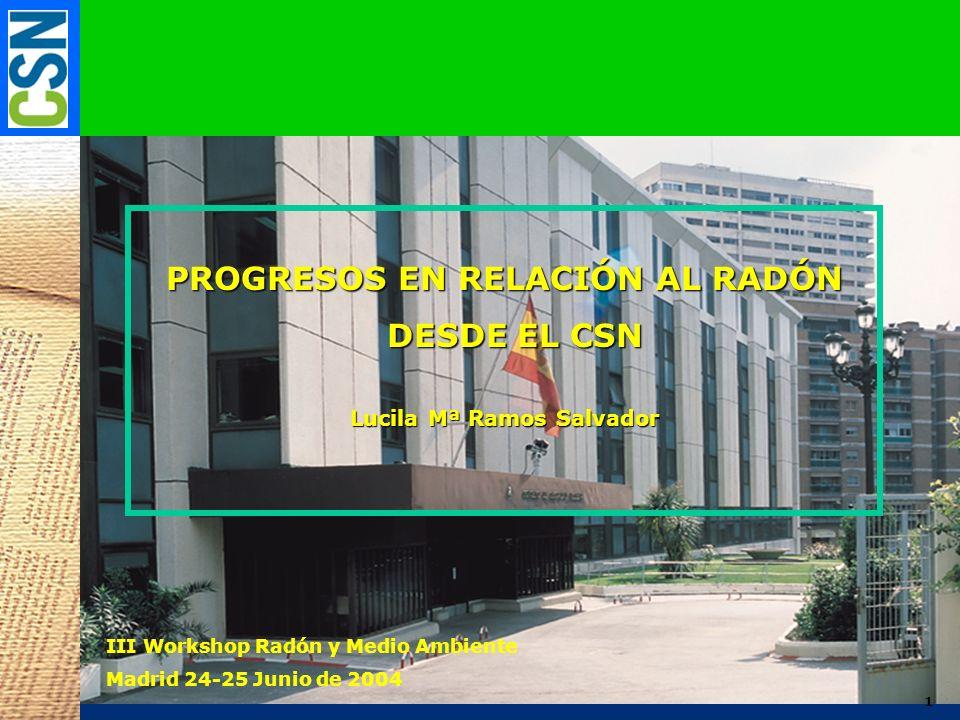PROGRESOS EN RELACIÓN AL RADÓN Lucila Mª Ramos Salvador