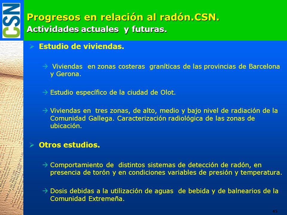 Progresos en relación al radón.CSN. Actividades actuales y futuras.