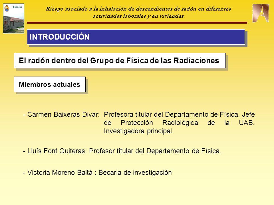 El radón dentro del Grupo de Física de las Radiaciones