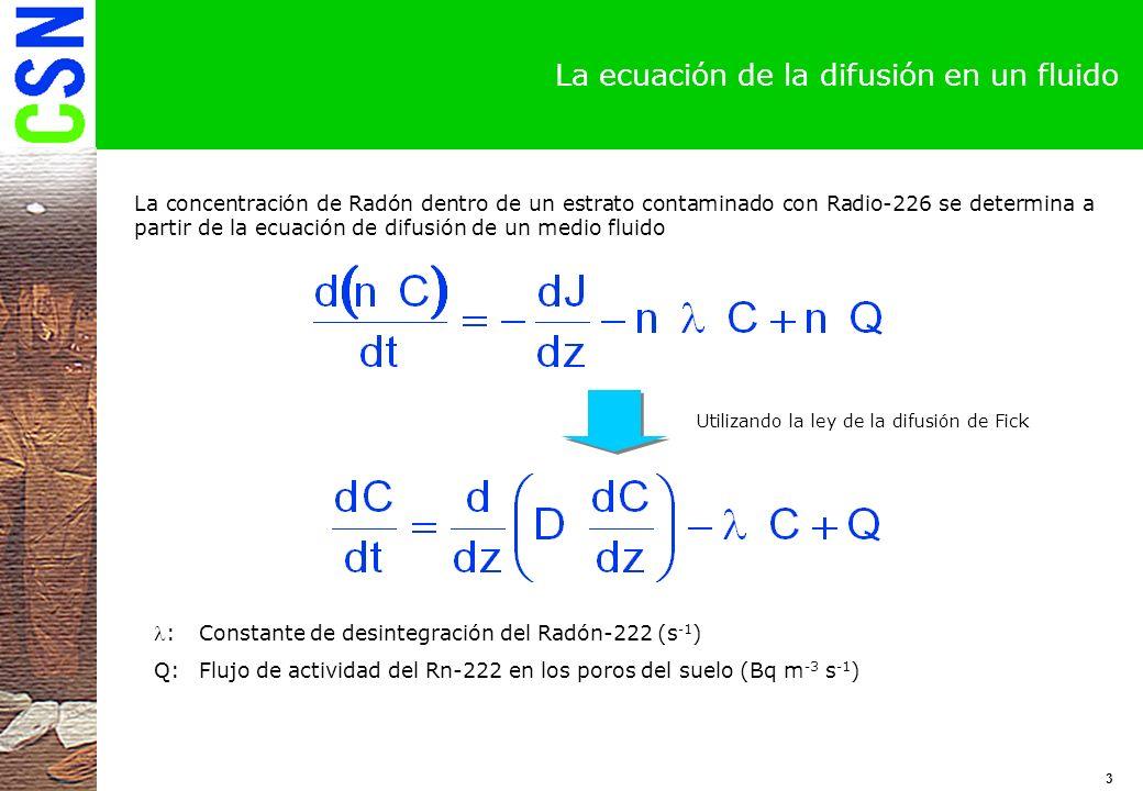 La ecuación de la difusión en un fluido