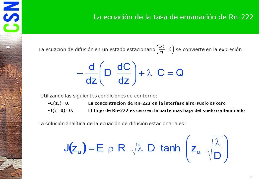 La ecuación de la tasa de emanación de Rn-222