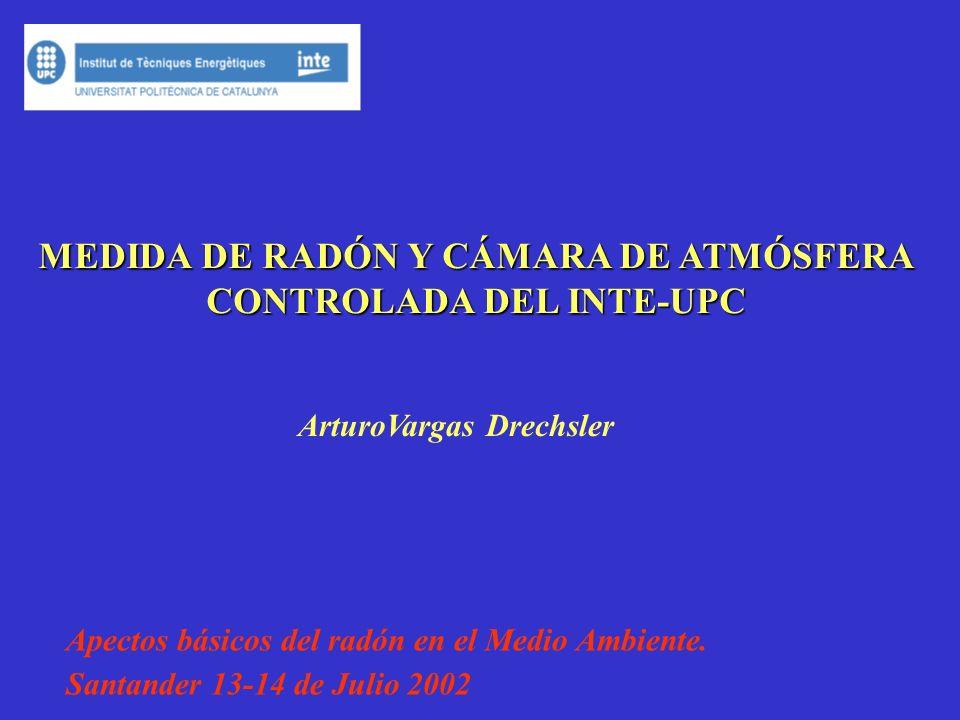 MEDIDA DE RADÓN Y CÁMARA DE ATMÓSFERA CONTROLADA DEL INTE-UPC