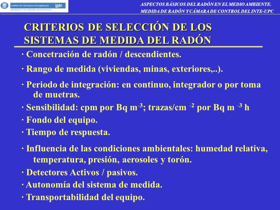 CRITERIOS DE SELECCIÓN DE LOS SISTEMAS DE MEDIDA DEL RADÓN