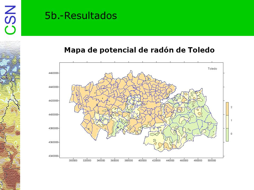 5b.-Resultados Mapa de potencial de radón de Toledo