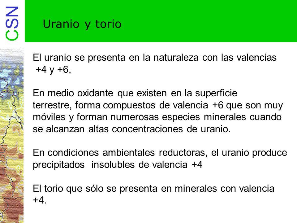Uranio y torio El uranio se presenta en la naturaleza con las valencias. +4 y +6, En medio oxidante que existen en la superficie.