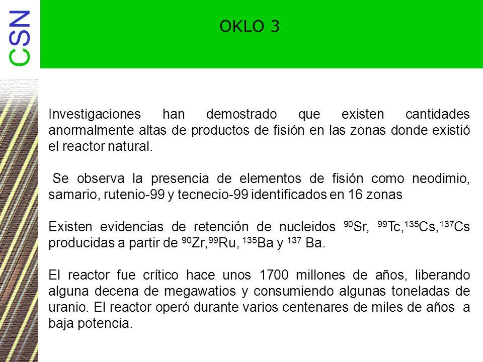 OKLO 3 Investigaciones han demostrado que existen cantidades anormalmente altas de productos de fisión en las zonas donde existió el reactor natural.