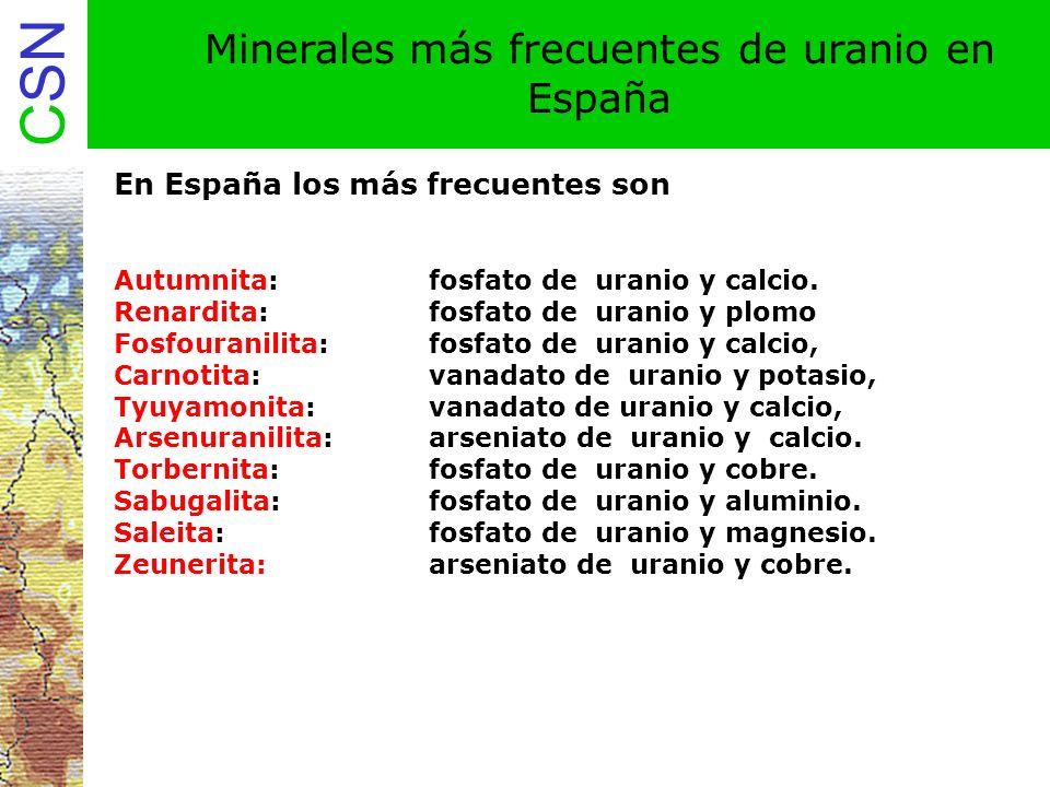 Minerales más frecuentes de uranio en España