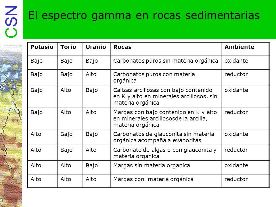 El espectro gamma en rocas sedimentarias