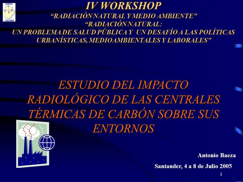 IV WORKSHOP RADIACIÓN NATURAL Y MEDIO AMBIENTE RADIACIÓN NATURAL: UN PROBLEMA DE SALUD PÚBLICA Y UN DESAFÍO A LAS POLÍTICAS URBANÍSTICAS, MEDIOAMBIENTALES Y LABORALES