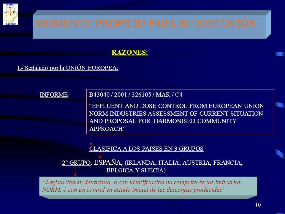 MOMENTO PROPICIO PARA SU EJECUCIÓN