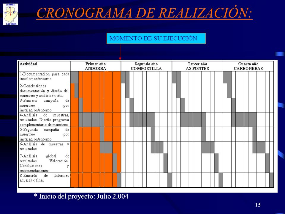 CRONOGRAMA DE REALIZACIÓN:
