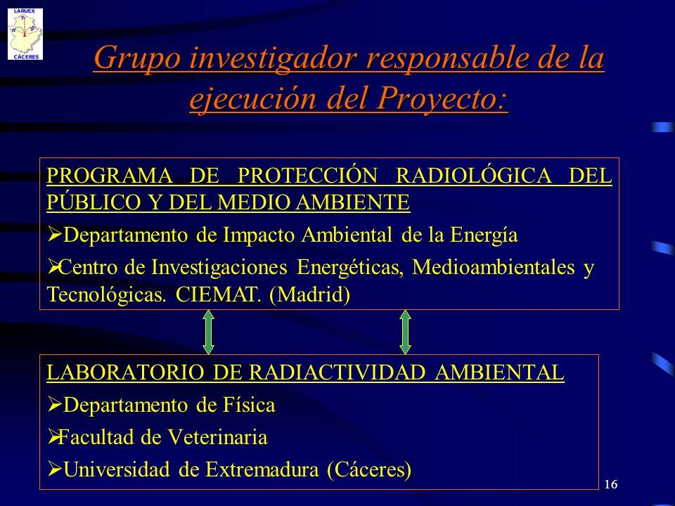 Grupo investigador responsable de la ejecución del Proyecto: