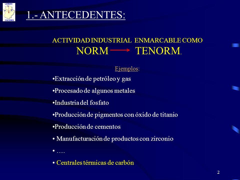 ACTIVIDAD INDUSTRIAL ENMARCABLE COMO NORM TENORM. Ejemplos: