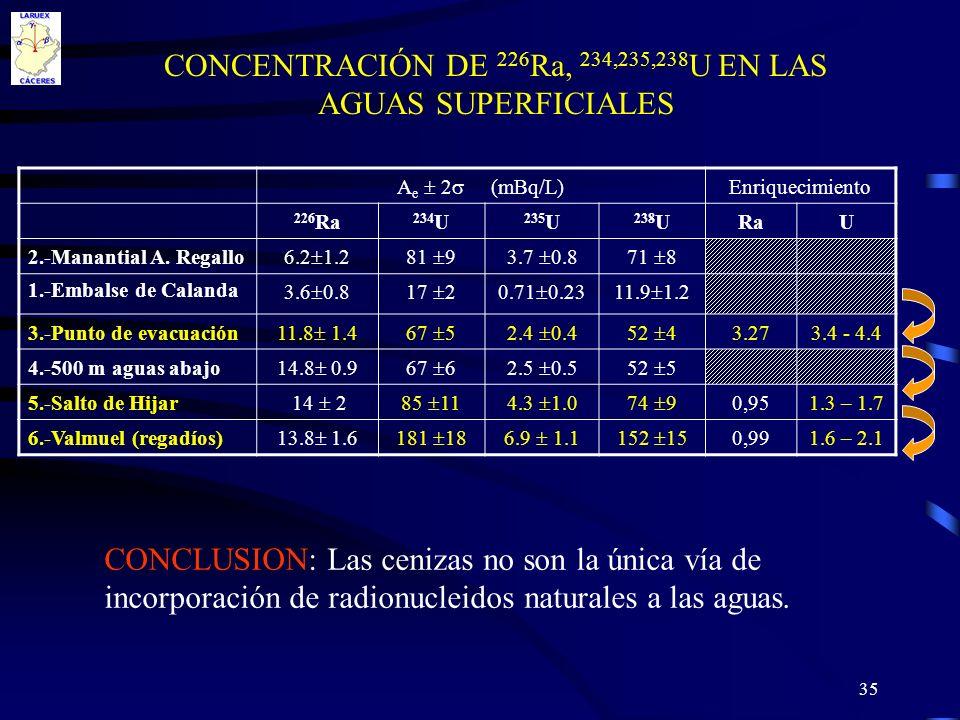 CONCENTRACIÓN DE 226Ra, 234,235,238U EN LAS AGUAS SUPERFICIALES