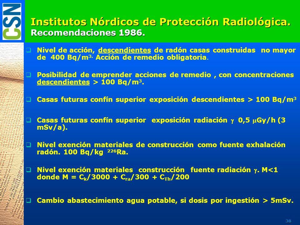 Institutos Nórdicos de Protección Radiológica. Recomendaciones 1986.