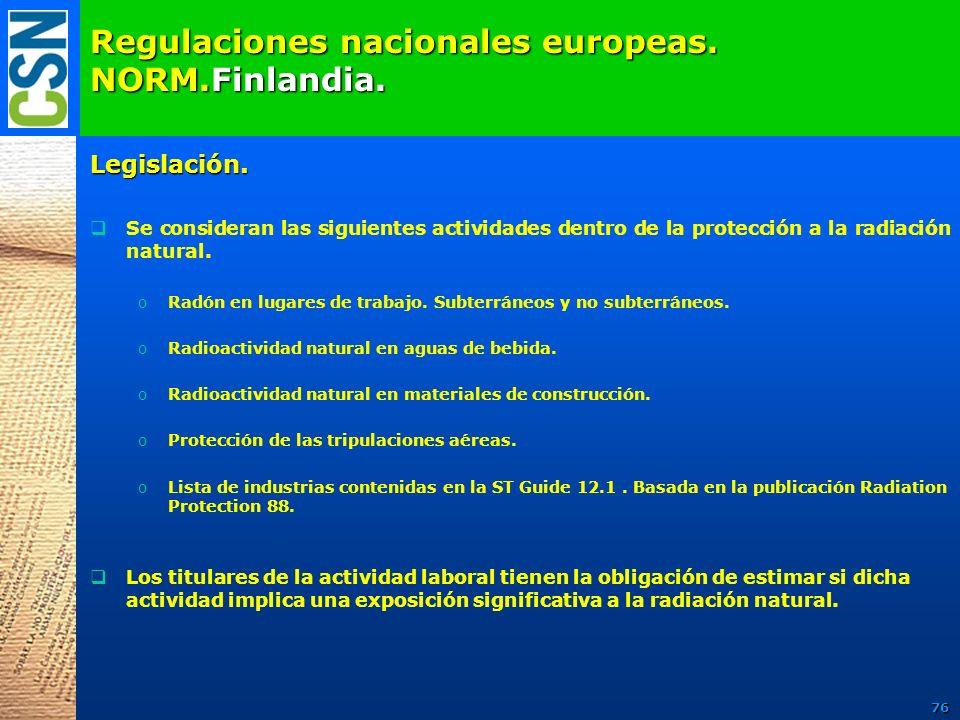 Regulaciones nacionales europeas. NORM.Finlandia.