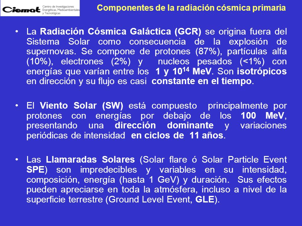 Componentes de la radiación cósmica primaria