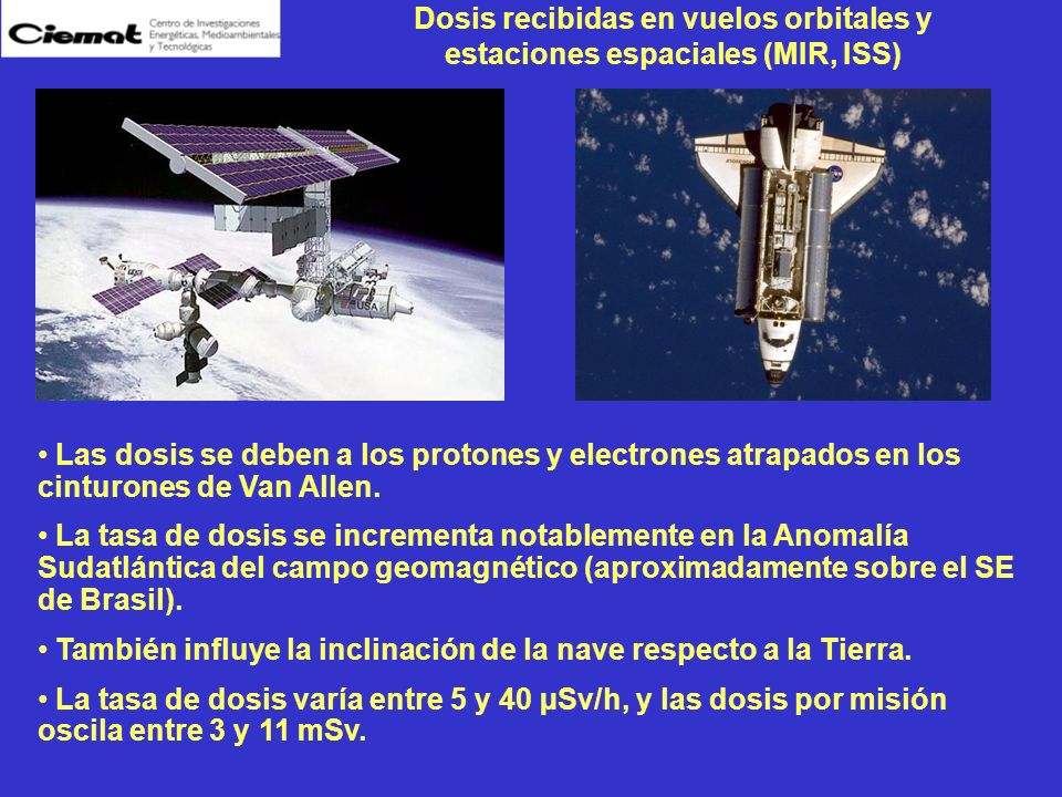 Dosis recibidas en vuelos orbitales y estaciones espaciales (MIR, ISS)