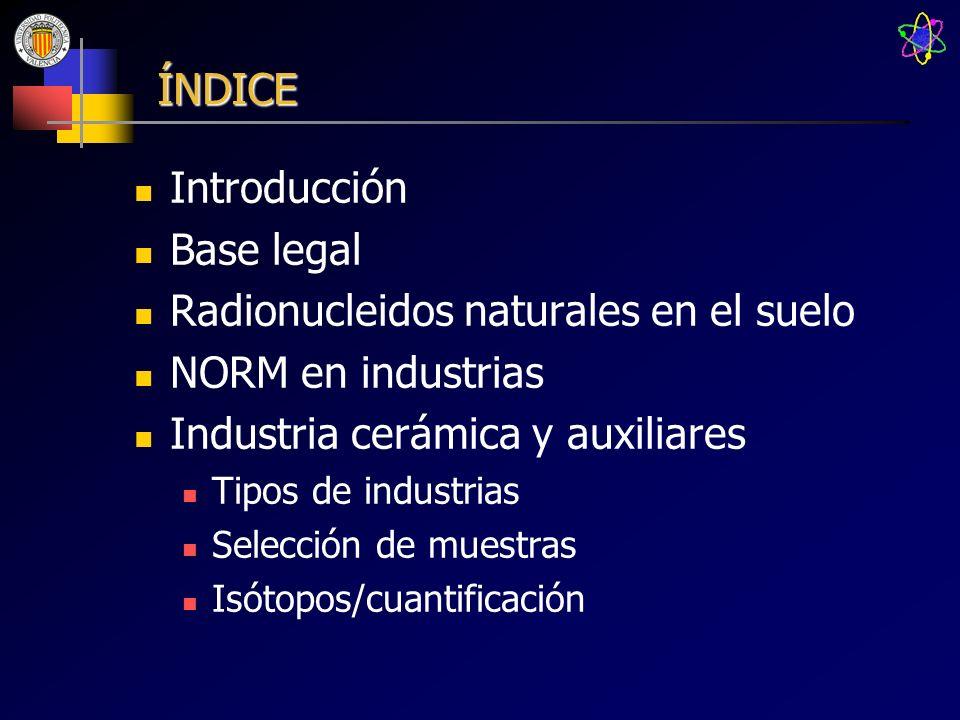 Radionucleidos naturales en el suelo NORM en industrias