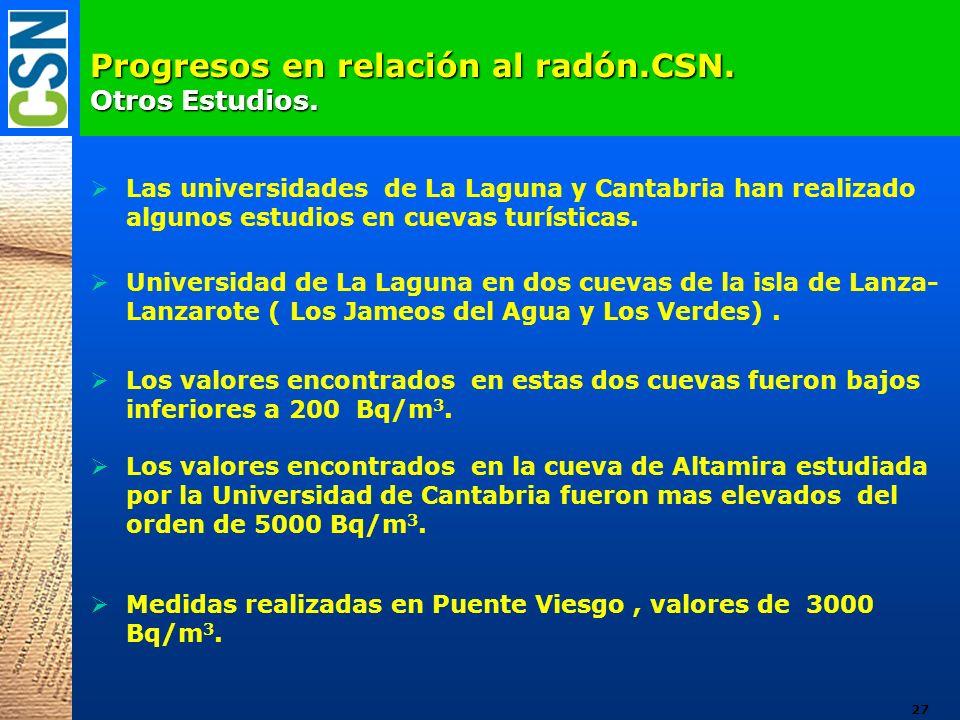 Progresos en relación al radón.CSN. Otros Estudios.